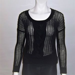 EXPRESS Black Open Knit Sweater W/Chunky Mid-Front